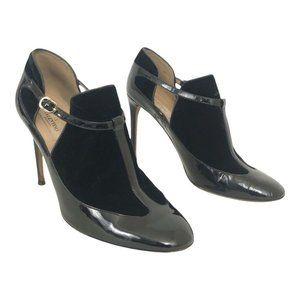 Valentino Black Patent Leather Velvet Tbar Pumps